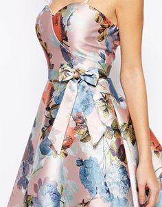 Enlarge Chi Chi London Bandeau Debutant Midi Skater Dress In Floral Print