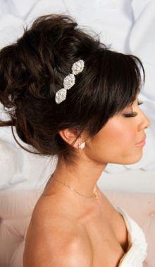 A stunning understated hair accessroy pops in this bride's dark locks. Romantic updo + crystal hair jewels = perfection!