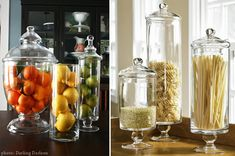 Love the idea of storing pasta in apothecary jars. So cute for my italian kitchen :)