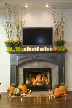 Great fall fireplace decor - I LOVE this
