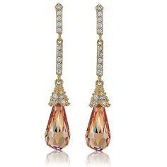 14K Gold Vermeil Champagne Cubic Zirconia Elongated Teardrop Earrings from Berricle - Price: $46.99