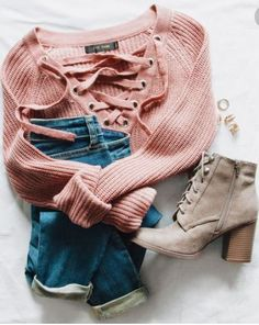 Lace up sweater Mauve