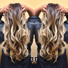 (No filter) Dark warm brown base ombre'd to light beige blonde highlites with…
