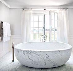 That bathtub! | freestanding | marble | modern | contemporary | chic | simple | white | decor | dream | bathroom