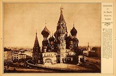 1922 Rotogravure Cathedral St Basil Moscow Russia Red Square Soviet Union Dome | eBay