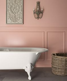 a claw tub.kohler: Iron Works Historic bath Some traditions are worth keeping. And a long, deep soak is on my list. Royal Bathroom, Peach Bathroom, Hall Bathroom, Pink Walls, Beautiful Bathrooms, My New Room, My Dream Home, Decoration, Sweet Home