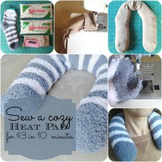According to the fantastic website Satsuma design, this is how to make a homemade heating pad! First, you need to gather your supplies. What you're going to need is one pair of thin socks, a pair o… Fabric Crafts, Sewing Crafts, Sewing Projects, Bean Bag Heating Pad, Heated Bean Bag, Rice Heating Bags, Neck Heating Pad, Homemade Heating Pad, Homemade Heat Packs