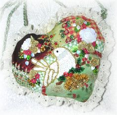 Embroidered Heart Ornament Crazy Quilt Partridge by Kittyandme, $29.00