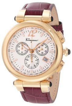 Ferragamo Women%27s F77LCQ5091 SB42 Idillio Gold Ion-Plated Silver Dial Purple Leather Chronograph Watch