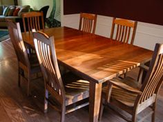 Amish Dining Room Furniture. Chair design is good for the back. Design has simple lines, and will last a long time. Preferred in mahogany.