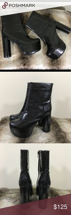 Jeffrey Campbell Black Patent Leather Boots Brand new without box 🖤Size 8.5 Women's  🖤5in heel 🖤2in platform   Please feel free to ask any questions! Please use the offer button & no trades. Jeffrey Campbell Shoes Platforms