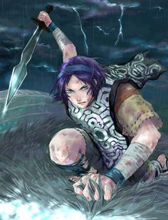 3327 - bandages blood blue eyes lightning purple hair shadow of the colossus solo sword wander - ~ SHADOW OF THE COLOSSUS ~ - Photos Shadow Of The Colossus, Chuck Norris, Hair Shadow, The Masterpiece, Purple Hair, Best Games, Game Art, Blue Eyes, Lightning
