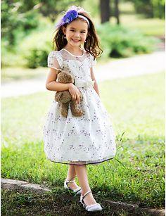 yay ve kurdeleler ile topu cüppe yular diz boyu ipek çiçek kız elbisesi  $49.99