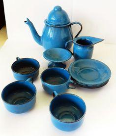 Vintage Mini Blue Enamelware*12 Pieces*Children Set*Teapot*Cups*Pitcher*Plates