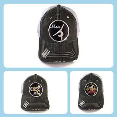 2072a01910bd4 Gymnastics Mom Trucker Hat Bedazzled with Real Swarovski Crystal Bling -  Black and Grey Embroidered Patch Gymnast Tumbler on denim Mesh Back