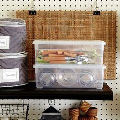 Outdoor Eatery - A pegboard shelf goes up in seconds to provide a convenient storage spot for items that can't be hung. China storage bags and lidded bins keep picnic plates, tumblers, and utensils dust-free and out of your kitchen cabinets. Hang outdoor placemats from binder clips behind the shelf.