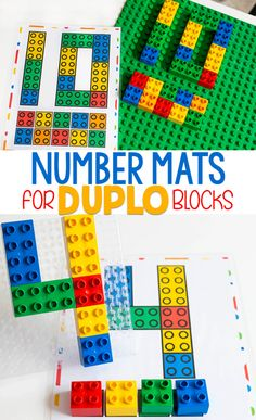 printable Number Mats for Duplo blocks. Count numbers with these DUPLO Number Mats for preschool and kindergarten.Free printable Number Mats for Duplo blocks. Count numbers with these DUPLO Number Mats for preschool and kindergarten. Fun Math Activities, Preschool Learning, Hands On Activities, Math Games, In Kindergarten, Montessori Preschool, Montessori Elementary, Learning Activities For Toddlers, Elementary Teaching