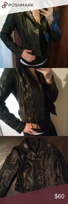 Faux Leather jacket Victoria's Secret  Gently worn  Moda Intetnational biker faux leather jacket Black/brown  Zipper jacket   Excellent quality!! Moda International Jackets & Coats