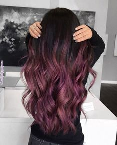 30 hair color trends should try in 2019 13 - Hair - Hair Styles 30 Hair Color, Ombre Hair Color, Hair Color Balayage, Purple Ombre, Burgundy Hair Ombre, Purple Balayage, Ombre Hair Brunette, Short Balayage, Dyed Hair Ombre