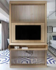 Living Room Partition Design, Living Room Divider, Living Room Tv Unit Designs, Room Partition Designs, Tv Wall Design, Tv Stand Room Divider, Master Bedroom Interior, Tv In Bedroom, Home Room Design