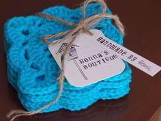 "Doily Crochet Coaster Set of 4 - Teal Blue - Square 4""x4"" / 10.5cm"