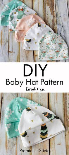 Adorable  Baby Hat Sewing Pattern!  It comes in sizes  preemie through 12 months so it is perfect for infants and big babies. She has a wonderful web site!  This cute little baby cap is made out of soft knit fabric and comes with a  fitted top and a cuff that can be rolled up for more cuteness!  As you can  see I had a lot of fun making them in a ton of different fabrics (all from  spoonflower) and can coordinate with the Knot B...