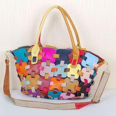 0170ee07fada Caerlif Cowhide Women Handbag Splice Shoulder Crossbody Bags Genuine  Leather Bag Bolsas ladies tote bag splicing