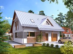 Projekt Jeżyna 3 (119,65 m2) to wersja projektu Jeżyna z garażem w bryle…