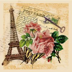 Light pink roses with Eiffel Tower, key, postcard with writting.