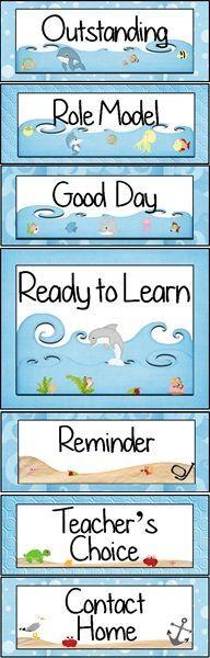Ocean Themed Behavior Clip Chart ~ Classroom Management Tool