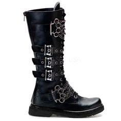 8f29bc9a738f Defiant-402 men biker combat goth punk mid calf studded chain boot