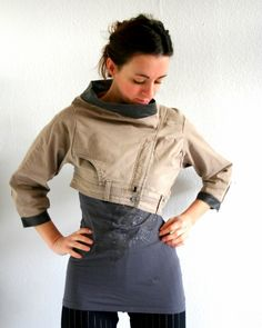 Unique denim jacket - with brown faux leather - upcycled jeans - unique OOAK - 3/4 sleeves - size XS/S - US 4/6 - by Bartinki