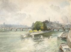 """""""@henri_zuber: La Seine au Pont Neuf - H. Zuber - Paris vers 1890 - Aquarelle 25x35 - Coll. part. """""""