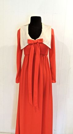 vintage long peachy bow dress - 1960s-70s Emma Domb pinky-red/white collared long dress by mkmack on Etsy https://www.etsy.com/listing/220970231/vintage-long-peachy-bow-dress-1960s-70s