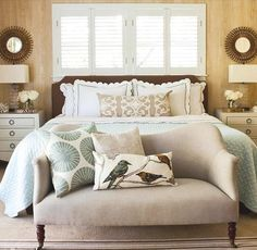 Love the relaxing colors in this pretty, neutral bedroom.