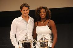 Roger Federer Serena Williams Photos - Roger Federer and Serena Williams attend the 2009 US Open Draw Presentation at the New York Times Center on August 2009 in New York City. - 2009 US Open Draw Ceremony Serena Williams Photos, Us Open, Roger Federer, Tennis Players, Gender, Draw, Tie, Sports, Hs Sports