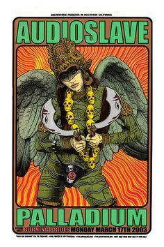 Audioslave ☮ Heavy metal rock music concert psychedelic poster ☮