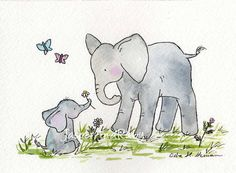 Elephant Nursery Art Print for Baby and Children by JasperAndRuby, $18.00