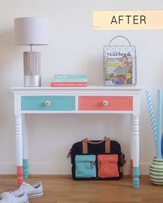 Today's first Before & After is Will from BrightBazaar's colorful console makeover