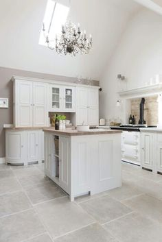 Stone Floors with Silver Birch Chichester Cabinets Neptune kitchen in Cotswolds Neptune By Sims Hilditch click the image or link for more info. Stone Kitchen, Kitchen Tiles, Kitchen Flooring, Open Plan Kitchen, Country Kitchen, New Kitchen, Rustic Kitchen, Modern Flooring, Stone Flooring