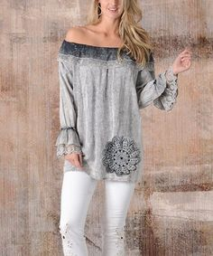 Another great find on #zulily! Gray Off-Shoulder Tunic #zulilyfinds