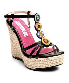 This 2 Lips Too Black Too Mako Wedge Sandal by 2 Lips Too is perfect! #zulilyfinds