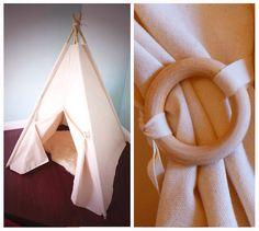 Grande toile tipi AVEC poteaux, naturelle tipi, tente de jeu d'enfants, enfants tipi tente, Playhouse, décor de crèche, la tente des animaux de compagnie,