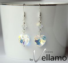 Earrings with heart shaped Aurora Borealis Swarovski by byVellamo, sold