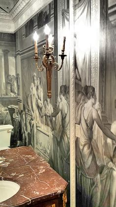 Powder bath……custom mural, 19th century French chest for a vanity, mirrored ceiling…..signature touches by designer Leo Dowell. Leo Dowell Designs
