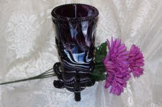 PURPLE VASE SLAG GLASS WESTMORELAND GLASS SEASHELL FISH FOOTED RARE VINTAGE