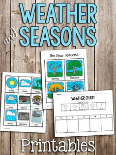 Use these Weather and Season Printables during a Weather Unit.  Printable Weather Chart Here's a printable weather chart for kids to fill in by drawing simple symbols on each day of the week. There are some simple illustrations kids can use as a guide. (I made these as simple as possible, and last year my students were able to copy these symbols.) There are two versions: one chart has