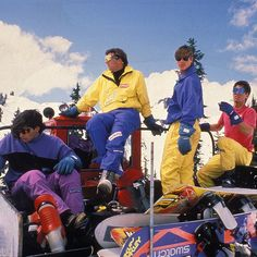 The #BurtonArchives dream team - Brushie, Jacoby, Duckboy, and CK taking a quick break circa 1990. #SquadGoals #TBT #ThrowbackThursday