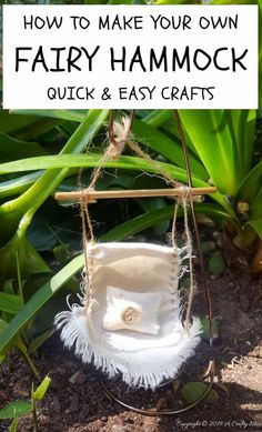 Gardening Diy Make a fairy hammock and spoil those fae folk - Easy DIY with full tutorial on… - Do you enjoy making fairy gardens? Then you'll love this tutorial that shows you how to make a little fairy hammock for the fae folk. Quick and easy DIY. Mini Fairy Garden, Fairy Garden Houses, Fairy House Crafts, Gnome Garden, Fairy Crafts, Garden Crafts, Garden Ideas, Garden Projects, Diy Projects