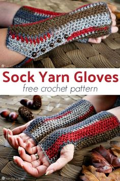 Sock Yarn Gloves: Free Crochet Pattern These Sock Yarn gloves are perfect for holding pumpkin spice lattes while cheering on your favorite football team. These gloves take one skein of sock yarn! Fingerless Gloves Crochet Pattern, Fingerless Mitts, Knitted Gloves, Crochet Socks, One Skein Crochet, Crochet Scarves, Crochet Headbands, Blanket Crochet, Crochet Shawl